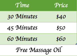 Tara Massage Parramatta price list